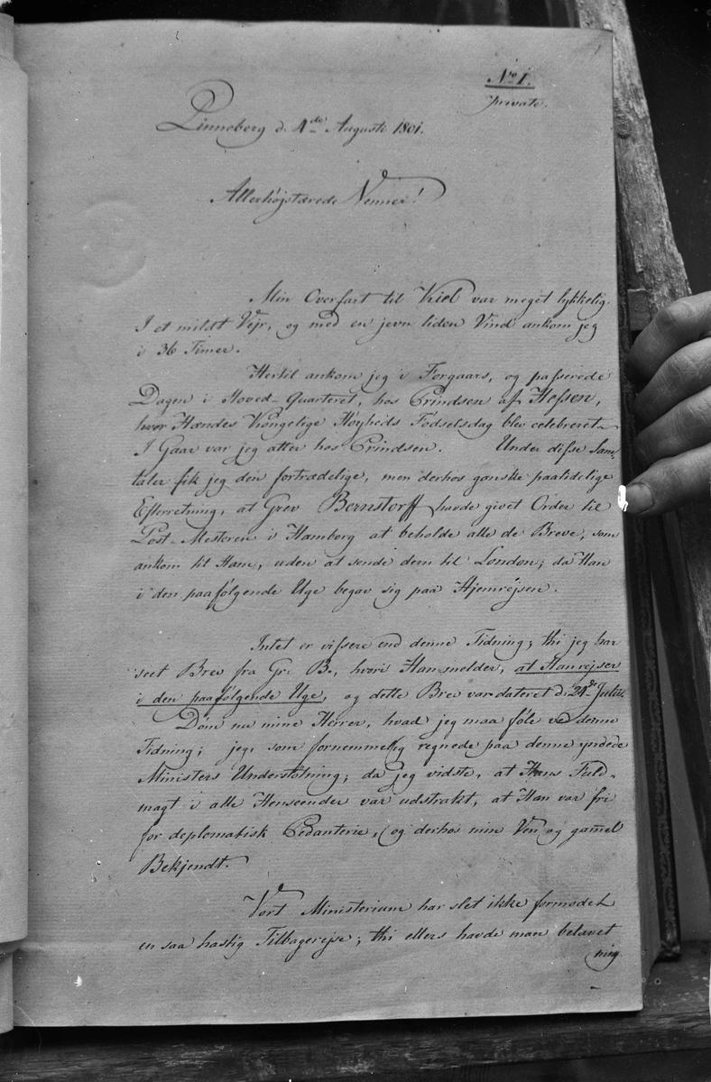 Håndskrevet brev fra 1801