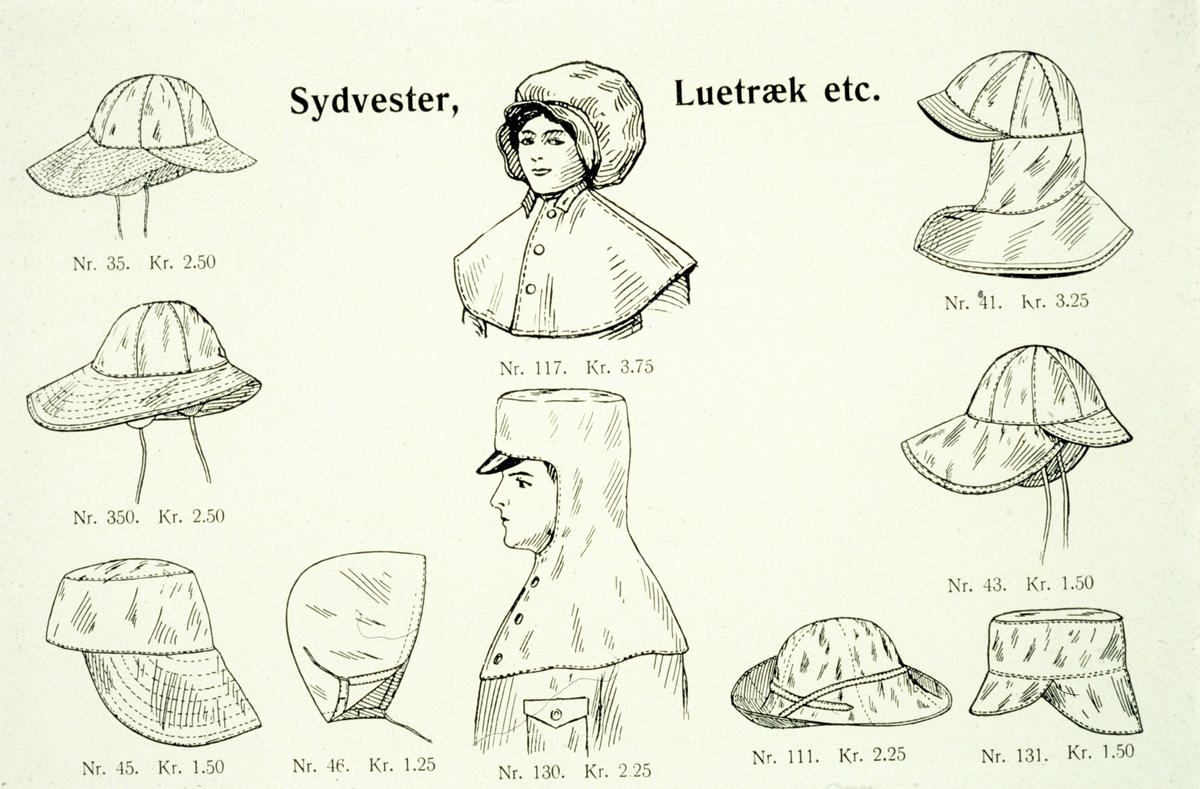 Reklame, tegning, regntøy, diverse hodeplagg