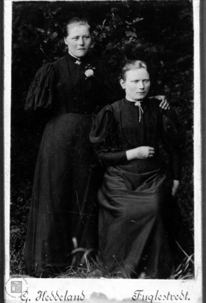 Portrett av Anna Tobiasdtr. Sveinall står ved siden av ei ukjent dame.