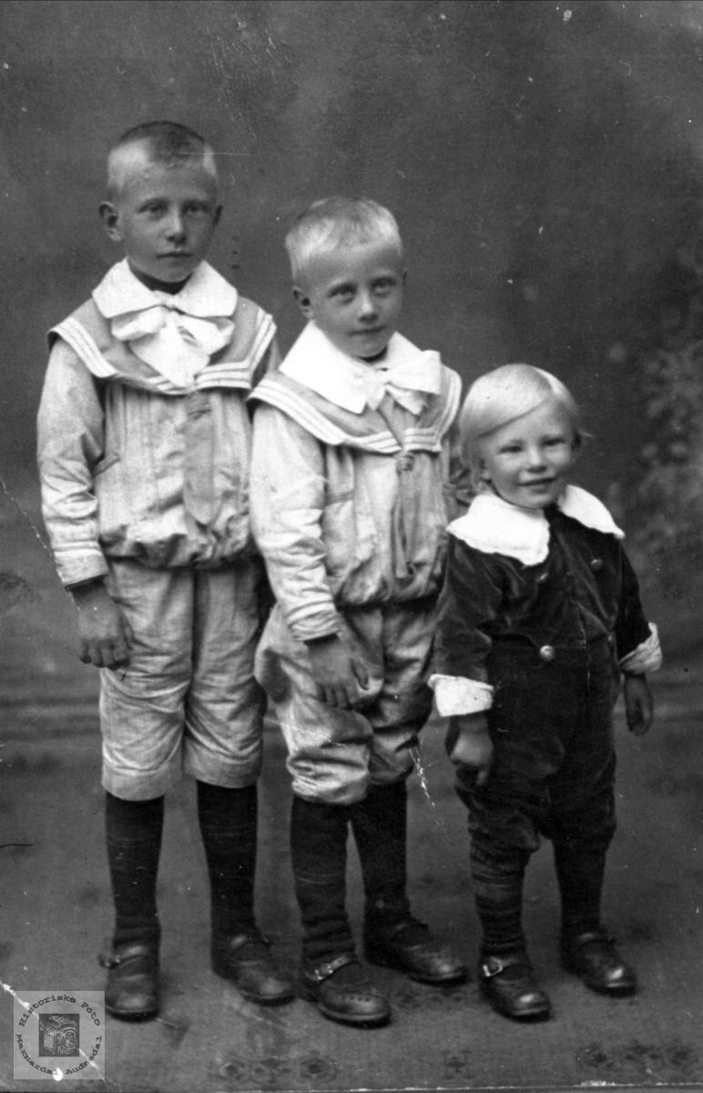 Barneportrett Torbjørn, Arne og Ivar Fossestøl, Øyslebø.