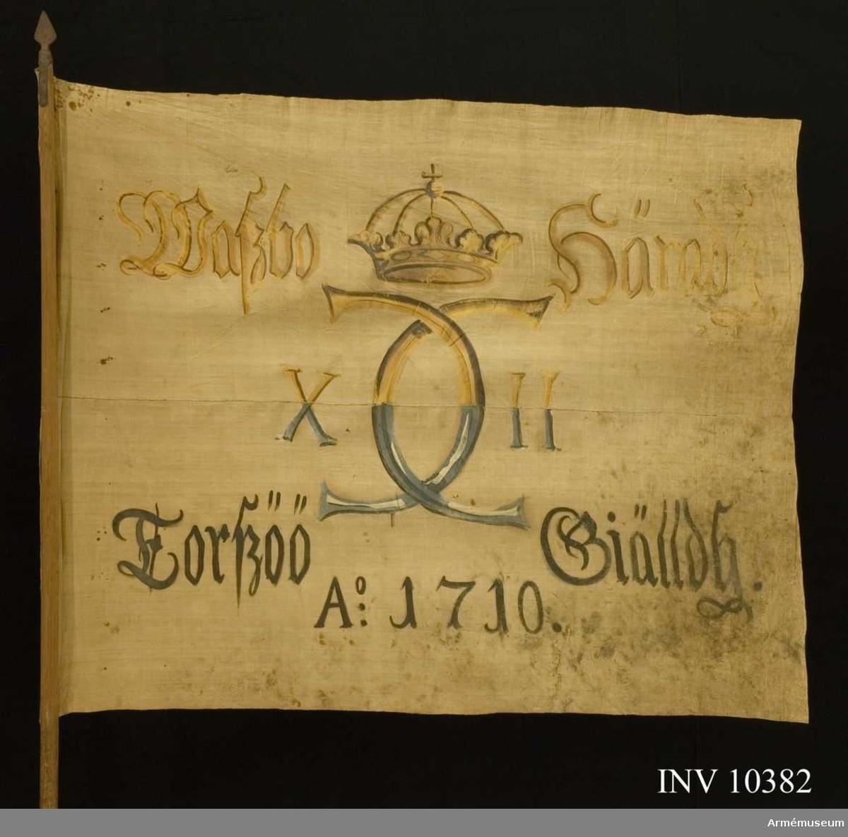 Grupp B I.  Fanduk av lärft, hopsydd av två våder, med målade emblem, lika på båda sidor, Karl XII:s namnchiffer, av sluten krona krönt spegelmonogram, avdelande siffrorna X - II. På ömse sidor om namnchiffret: Waszbo Häradh - Torszöö Giälldh och därunder A:o 1710. Målningen på övre halvan gul och brun, på nedre halvan blå  med svart skuggning. Fastspikad direkt på stången utan lindning  och rem. Stång av furu, brunmålad.Spets av järn, bladet platt, spjutlikt i ett stycke med kort holk, varifrån utgår korta skenor.
