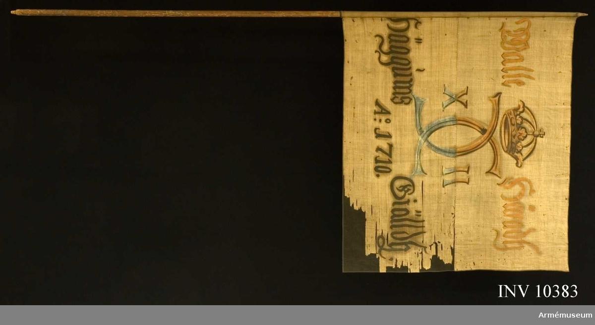 Grupp B I.  Fanduk av lärft, hopsydd av två våder, (av olika kvalitet), den övre mörkare, den nedre ljusare, med målade emblem, omvänt lika  på båda sidor, Karl XII:s krönta namnchiffer. Siffrorna avdelade  på ömse sidor av spegelmonogrammet, kronan sluten. Inskription:  på övre halvan: Walle häradh, på nedre halvan: Häggums Giälldh.  A:o 1710. Målningen på övre halvan rödbrunt och svart, på nedre halvan blått och svart. Fastspikad med brunsvart läderband och  järnspikar. Stång av brun furu. Spets saknas.