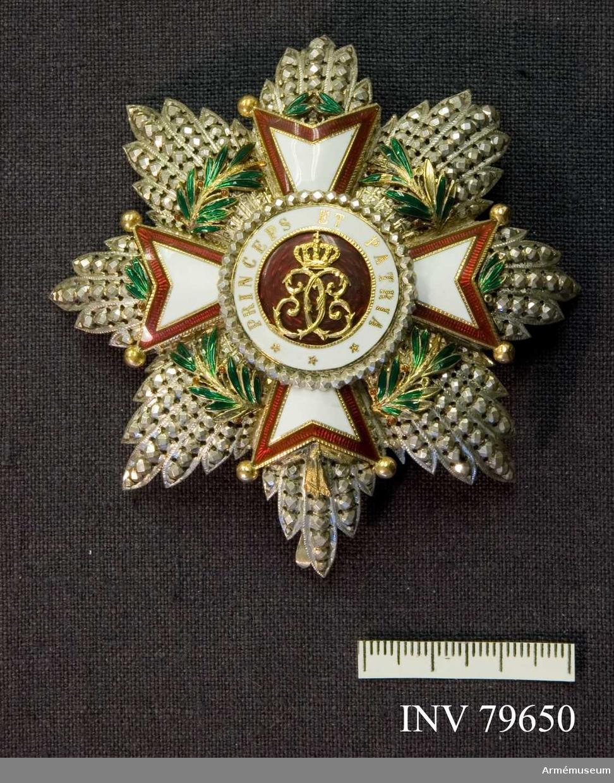 Grupp M.   Kommendör med stora korset En stjärna, bestående av 8 strålknippen, vart och ett innehållande 5 facetterade strålar allt i silver, därovanpå en lagerkrans i grön emalj.  Ovanpå kransen ett gyllene  St Georgskors med kluvna armar, varje udd slutande i en gyllene kula (en kula saknas).  Korsets kontur är strierad, därinnanför löper ytterst ett rött emaljerat band, vidare en strierad guldrand, innerst vit emalj.  Under korsets nedersta arm, synes en gyllene knut, som hopfäster lagerkransen. Ovenpå korset en rund mittsköld bestående ytterst av en ram av facetterade silverpärlor, därnäst vit emalj, bärande i gyllene bokstäver inskriften: PRINCEPS ET PATRIA * * * vidare strierad guldrand samt innerst ett rött emaljerat fält med ett krönt, av två från varandra vända gyllene C bildat monogram.  Beskrivning: Carl Peyron