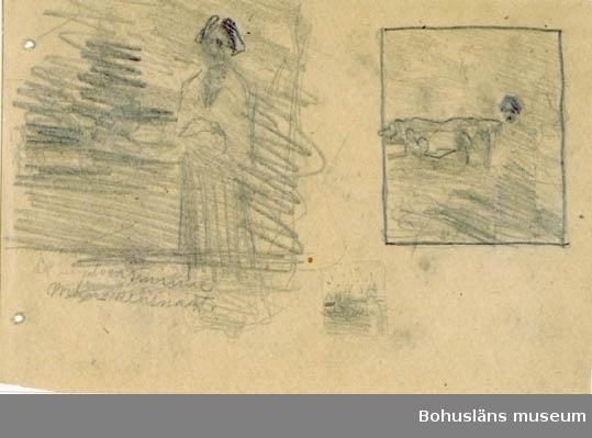 """""""Ett ungdomsminne. Månskensnatt."""" med blyerts. A.t. Grieg. Se RL397. Tillkomstort Stockholm. För uppgifter om konstnären Ragnar Ljungman, se RL001."""