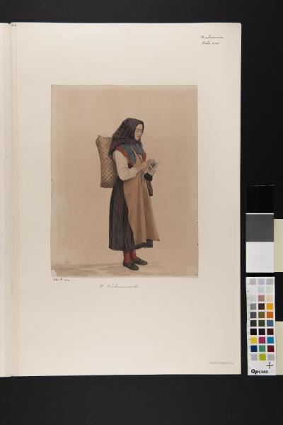 """Kvinna i helfigur. """"Vallkulla med stickning"""". Akvarell av P Södermark 1850."""