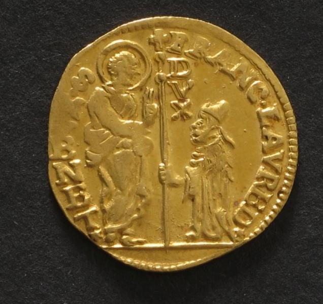 Adv. Den hellige Marcus overrekker fanen til den knælende doge.  Rev.  Madonna