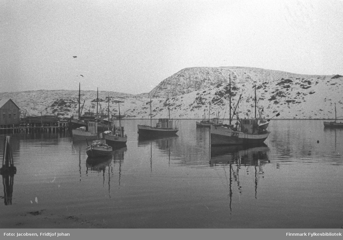 Et vinterkledt Havøysund. Mange båter ligger fortøyd i indre havn. Helt til høyre på bildet ses forparten av en båt med høy formast. Skøyta til venstre for den, var Erling Mikkelsens båt Rivalen. Båten er trefarget med en hvit linje langs rekka. Den har to master, formasta med lastebom og hvit styrhus. På babord side av styrhuset henger en lettbåt/livbåt på et stativ. Over baugen, et stykke ut på havna ligger en mindre båt. Båt nummer fire fra høyre er M/S Sleipner som tilhørte Aksel Klemetsen. Båten har også to master og styrhuset bak. Foran baugen på den, litt nærmere land, er Karl Johansens sjark. Foran den ligger en åpen motorbåt. Det kan være Mathis Amundsens båt M/B Laksen. Ved kai ligger en større båt, kanskje en frakteskute. Det er Ragnvald Magnussens båt M/S Torfinn. Den høye formasta med lastebom og den hvite kanten langs rekka er stort sett det som vises på bildet. Mellon den båten og Karl Johansens båt ligger en sjark til fortøyd. Kaia M/S Torfinn ligger ved tilhørte Anton Olsen som hadde materialhandel og røstet på bygningen hans står helt til venstre på bildet. Denne ble senere omgjort til fiskemottak. Over den blikkstille havna ligger fastlandssiden med en del snø på. I strandkanten, kan Haagensen-bruket såvidt ses, rett over hekken på M/S Torfinn.