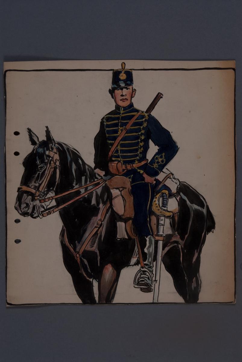 Plansch med uniform för Kronprinsens husarregemente, ritad av Einar von Strokrich.