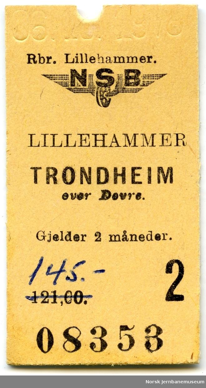 Billett Lillehammer-Trondheim, 2. klasse, brukt, solgt av NSB Reisebyrå, Lillehammer