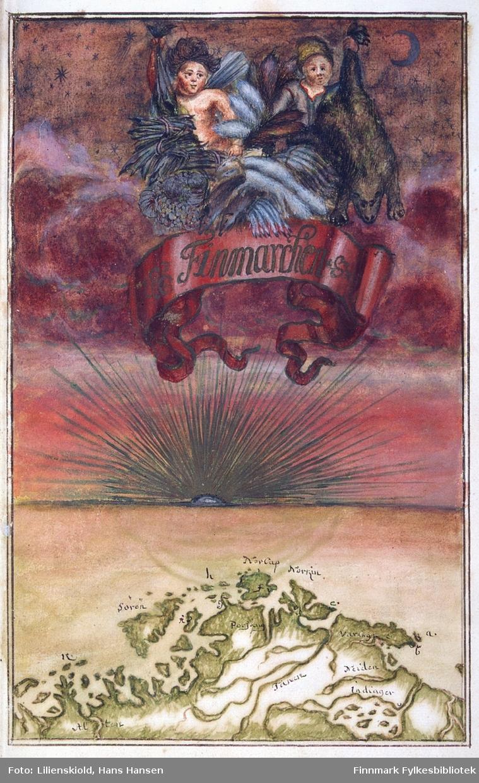 Finmarchen. Banneret med tekst over finnmarkskartet holdes oppe av en engel med kornnek, symbol på rikdom og fruktbarhet. Den andre personen som holder oppe banneret ser ut til å være en fangstmann. Han holder fram en bjørnefell og annet verdifullt pelsverk