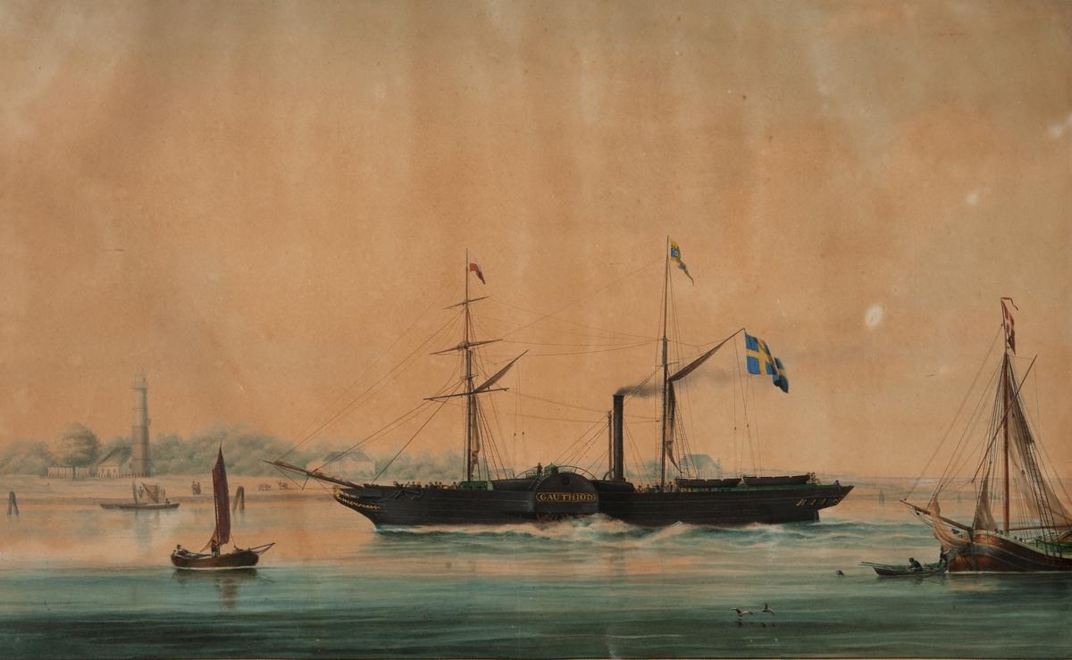 Hjulångaren GAUTHIOD sedd från babords sida gående för maskin in mot kust i bakgrunden med ett fyrtorn i vänster i bild och en större stnbyggnad med fronton lite till höger.  Fartyget är omgivet av fyra segelfartyg, det längst till höger med dansk flagga och en roddbåt. Framför båten, i bakgrunden, två Ducd´alber. I gaffeln en svensk flagga, i bakre masten namnvimpel i främre masten en flagga med vit och rött liggande fält. På skovelhjulet fartygsnamnet. På däck syns flera personer däribland ett stort antal passagerare.