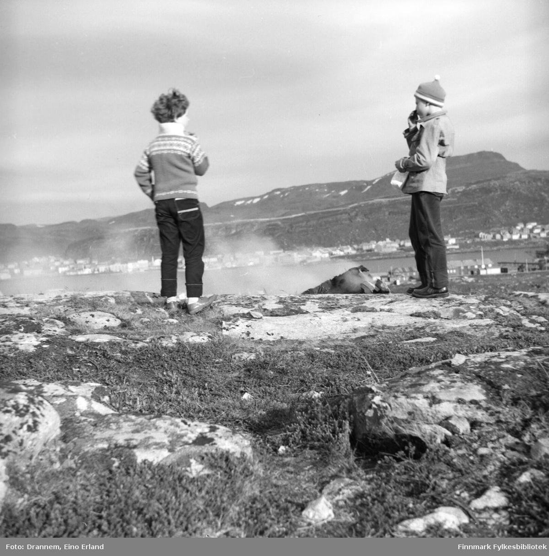 To barn i fjellet ovenfor Fuglenes. Turid Karikoski til venstre, gutten er ukjent.