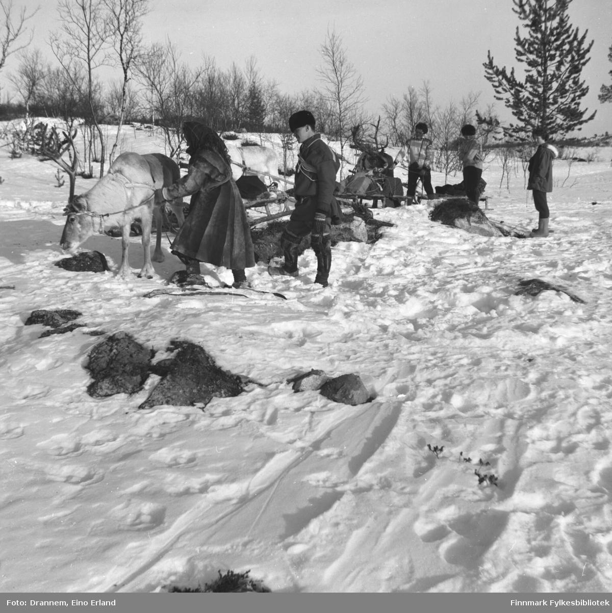 Fem personer og flere kjørerein fotografert en vinterdag. Turid Karikoski står helt til høyre på bildet.