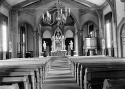 Hønefoss kirke. Bilde fra innsiden. Ca. 1920.