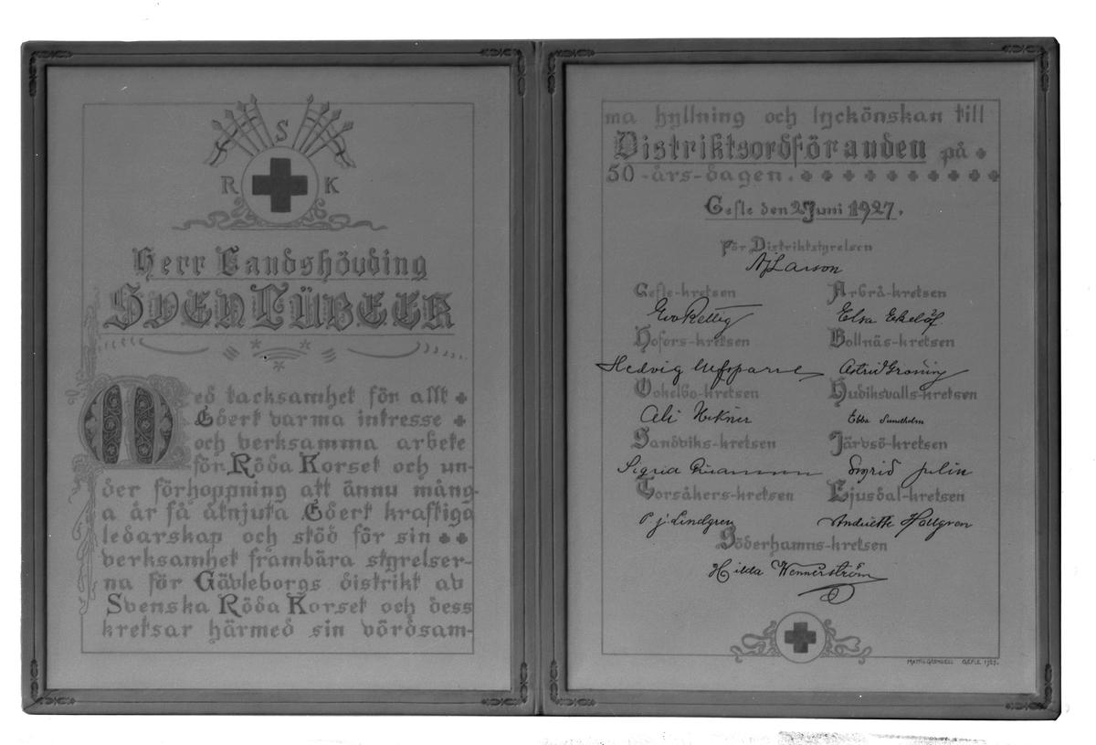 Bok till Herr Landshövdingen Sven Lübeck på 50-årsdagen den 27 juni 1927 från Gävleborgs distrikt av Svenska Röda Korset