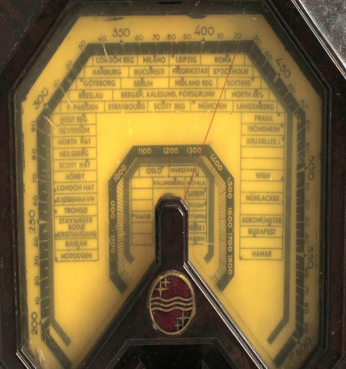 Frontpanel i høydeformat med høytaler øverst og søkeskala nedenfor, tre stk. knotter nederst.