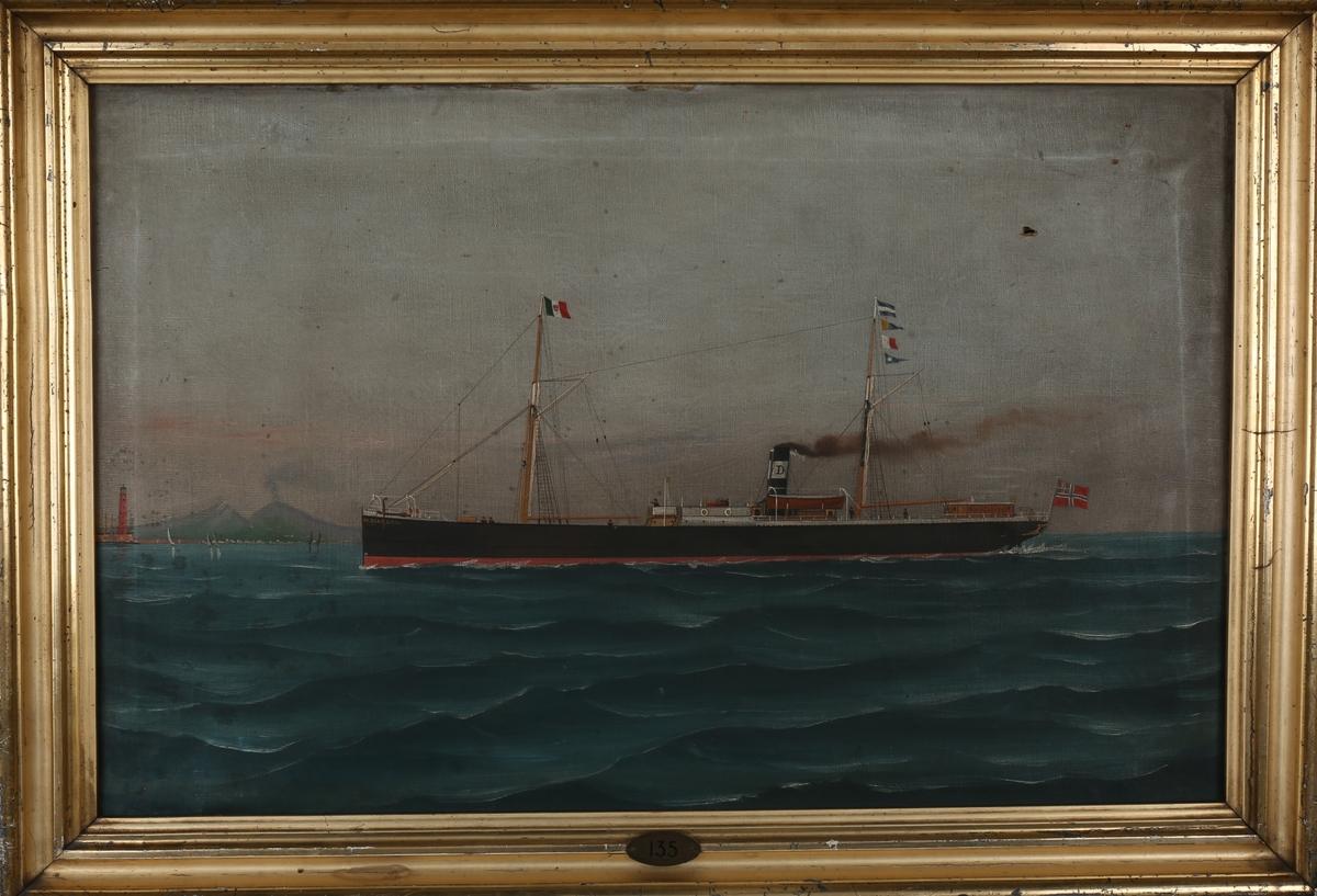 Skipsportrett av DS DIANA under fart trolig ved Italia. Det norske flagget med norsk handelsflagg med svensk-norsk unionsmerke akter samt det italienske flagg i mast foran.