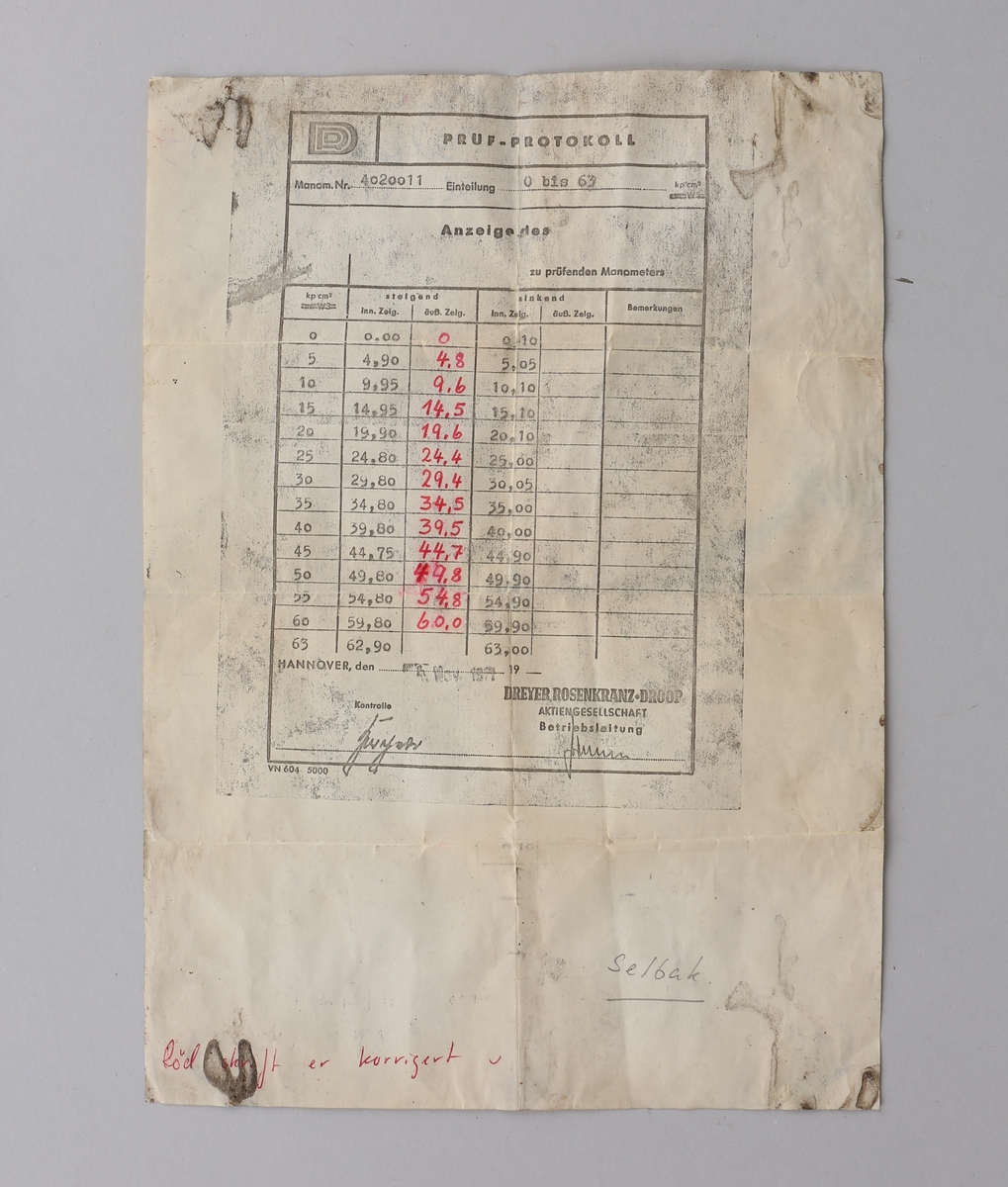 Dokument, del til prøvemanometer.