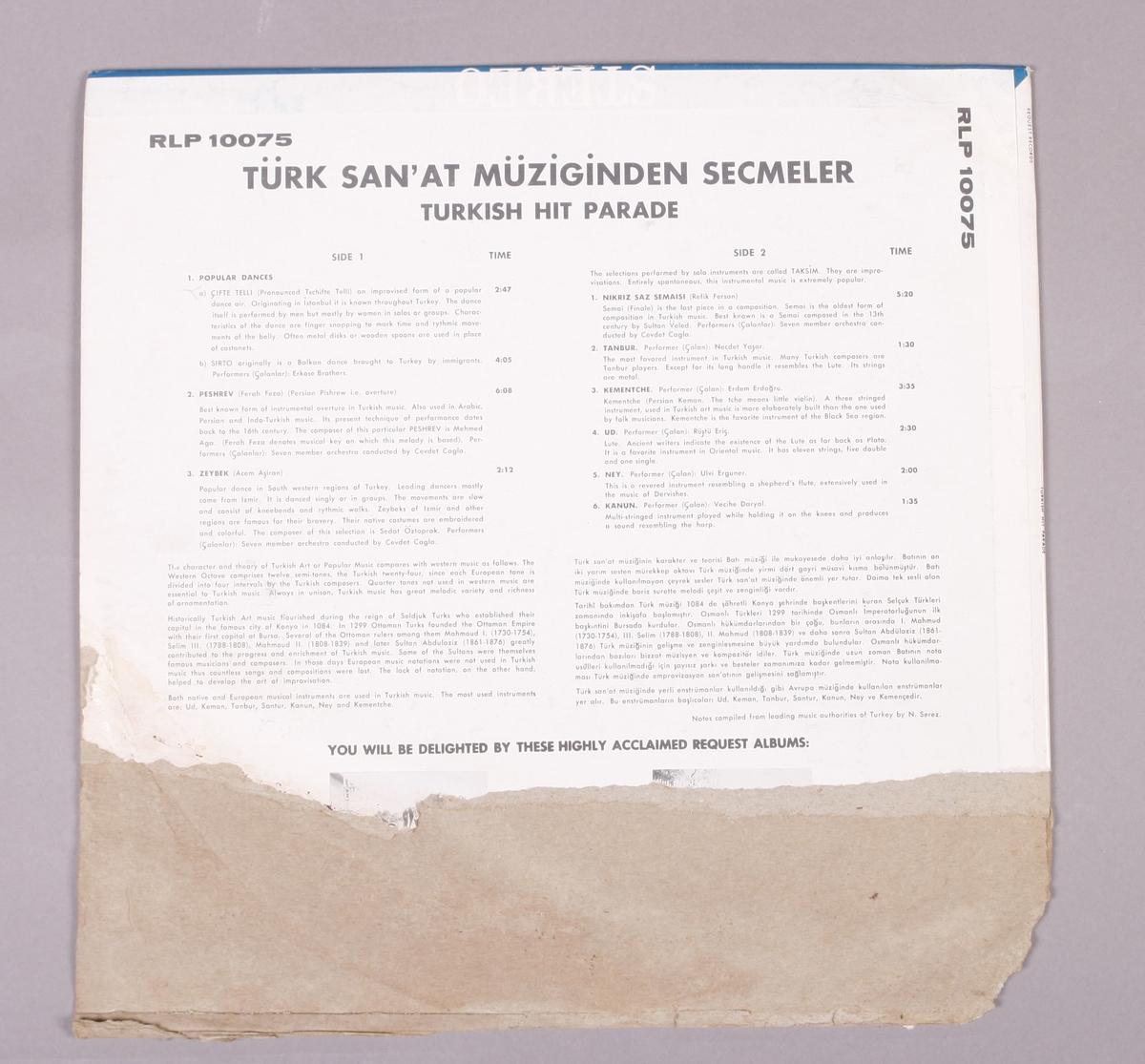 """Plateomslag for 12"""" LP-plate. Inneholder verken plate eller platelomme."""