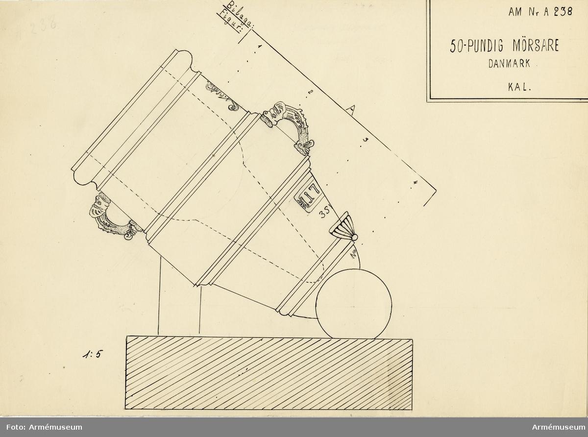 Grupp A I.  Eldrör med Fredrik IV:s namnchiffer. Tillhör Kristian V:s år 1687 införda andra metallkanonsystem eller som det i allmänhet kallas: Gamle System.  Danskt mått: 100-pundig. Mått: Lopp rel. längd 1,3 kal. Vikt 790 kg.
