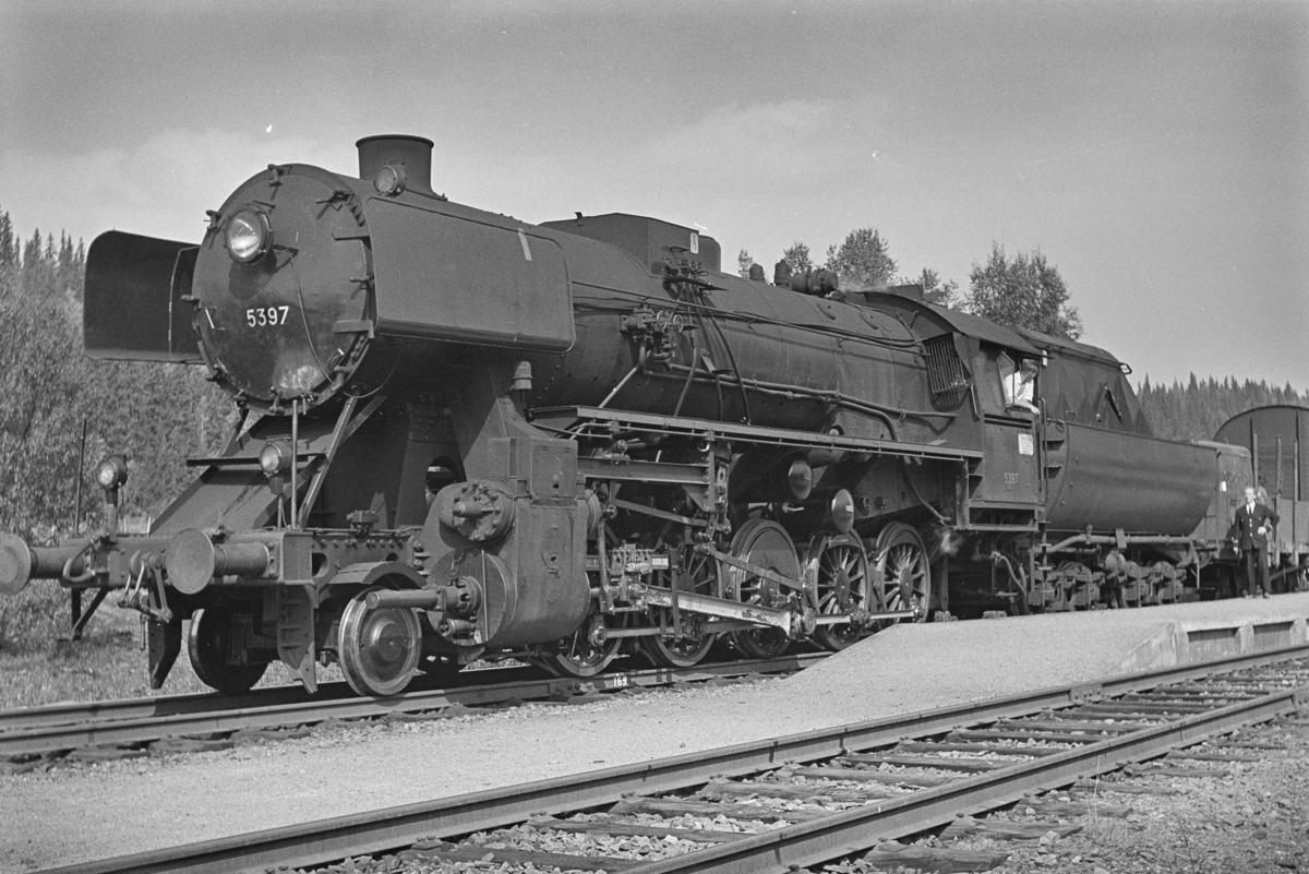 Sørgående godstog på Agle stasjon på Nordlandsbanen. Toget trekkes av damplokomotiv type 63a nr. 5397.