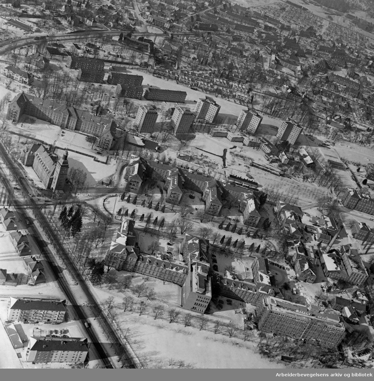 Ullevål sykehus. Flyfoto. Mars 1962