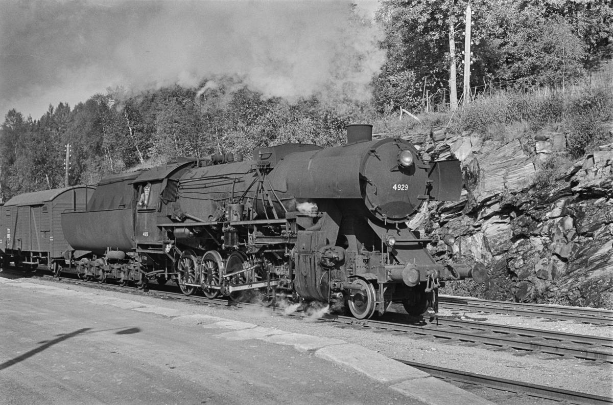 Sydgående godstog på Rørosbanen på Haltdalen stasjon. Toget trekkes av damplokomotiv type 63a nr. 4929.