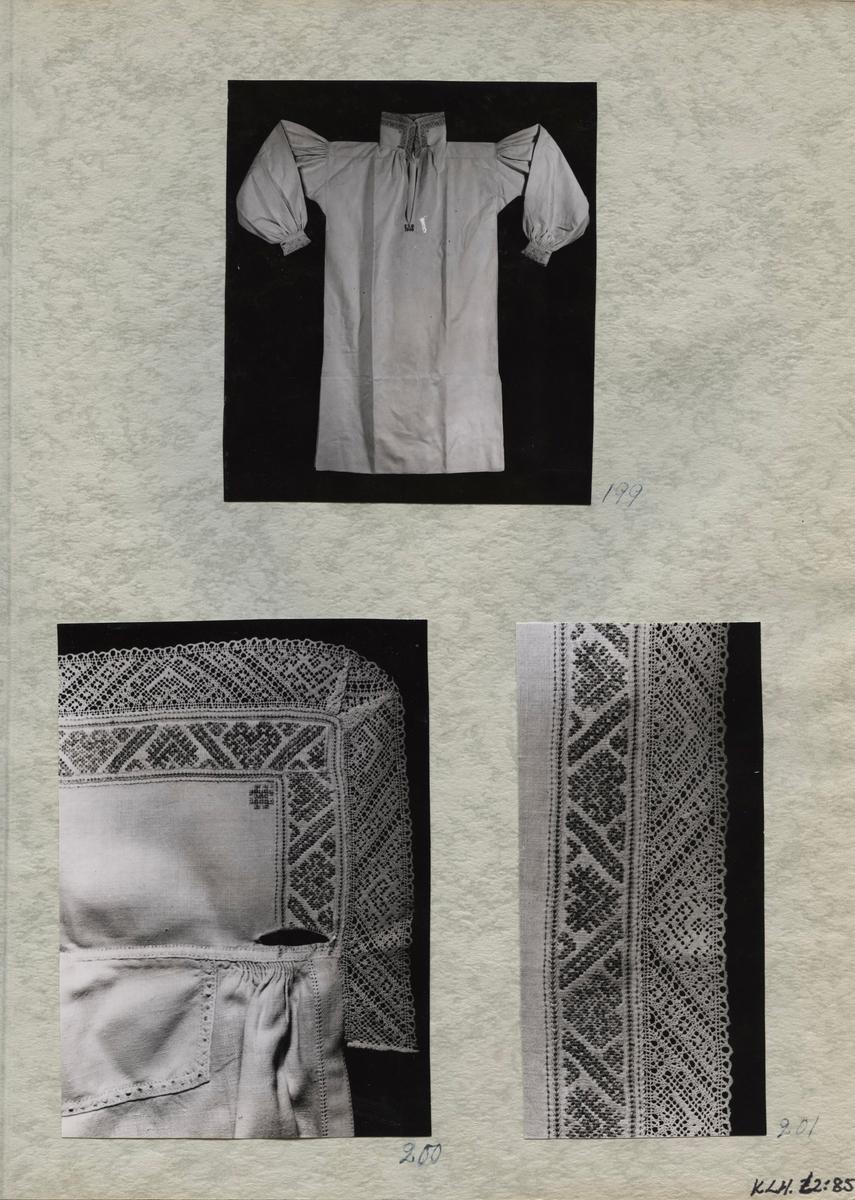 Kartongark med tre fotografier av skjorta.