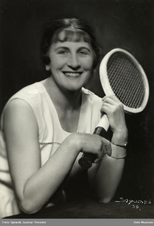 portrett, kvinne, tennisspiller, brystbilde, tennisracket