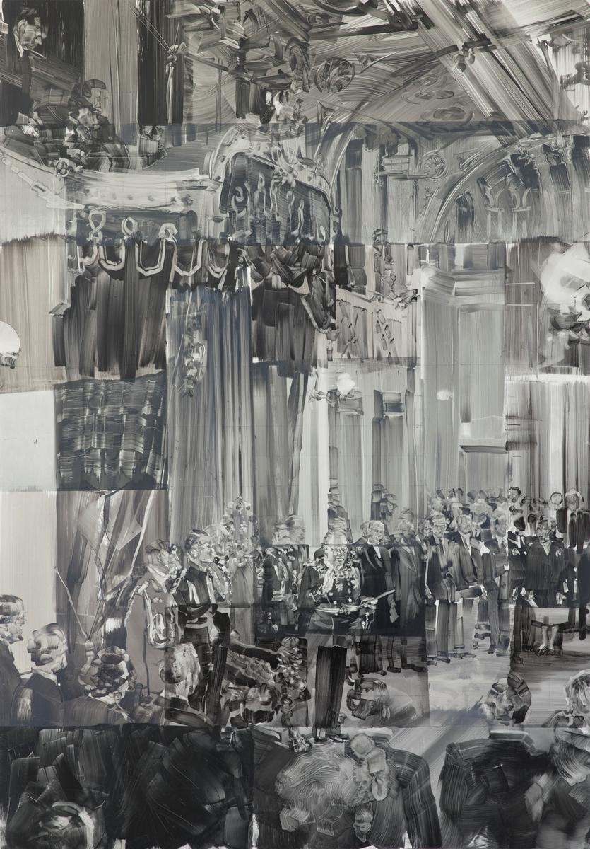 Kong Olav Vs edsavleggelse for Stortinget [Olje på PVC-plate]