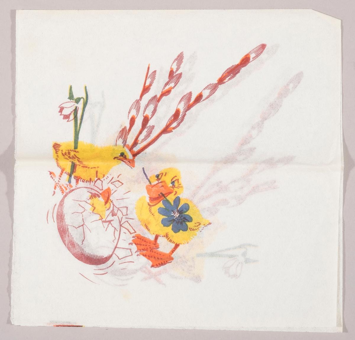 """En kylling med en påskelilje under vingen. En and med et blå blomst i nebbet. Et egg som klekkes. I bakgrunnen """"gåsunger"""" på en grein."""
