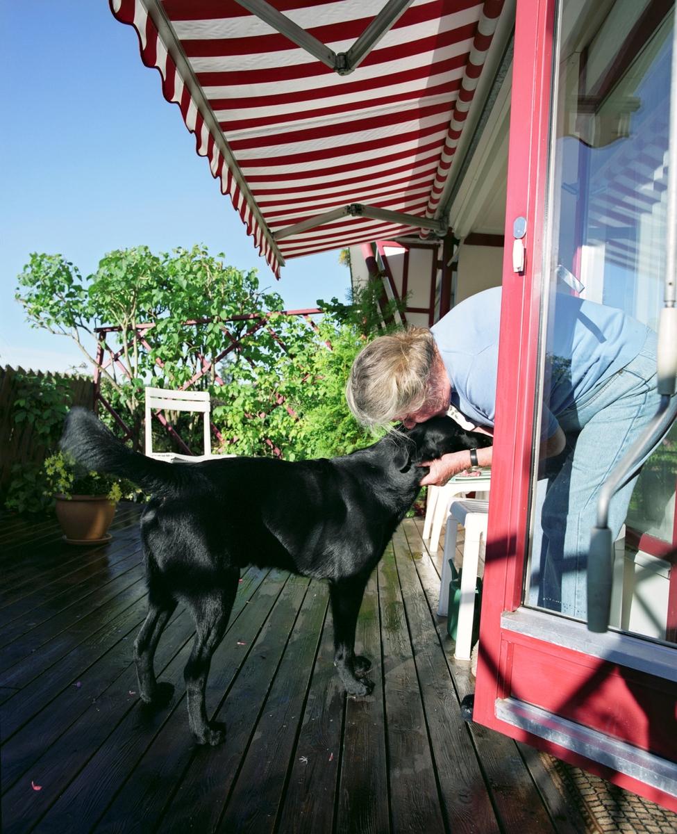 Hunden Chico på terrassen koser med sin eier.