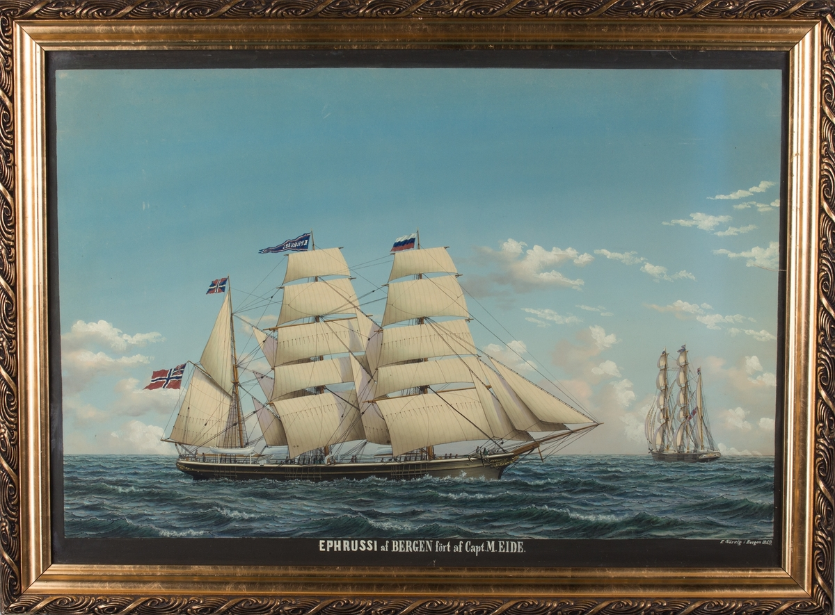 Skipsportrett av bark EPHRUSSI for fulle seil. Skipet har vimpel i stormasten med skipet navn, og russisk flagg i formasten. Mindre versjon av samme skip sees fra akter.