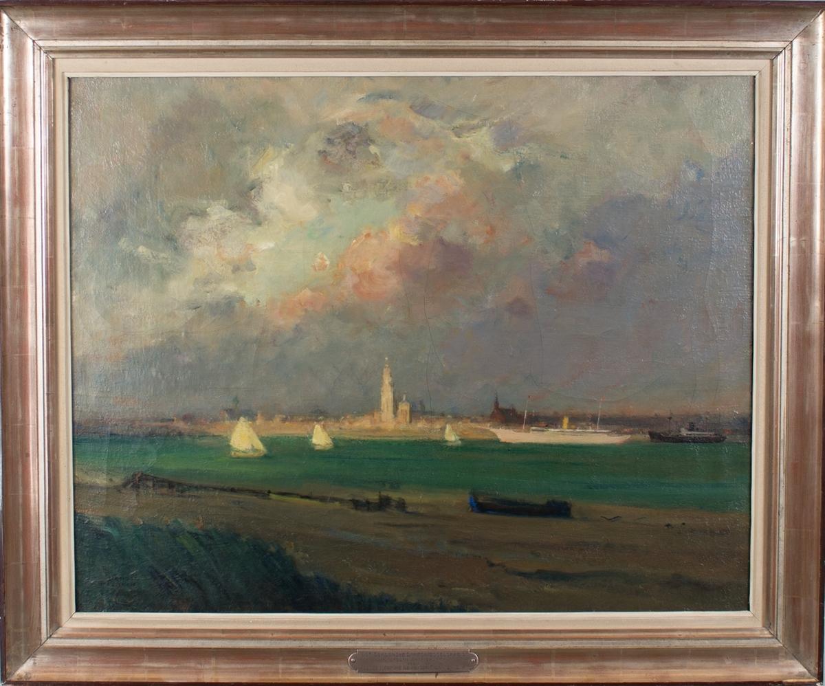 Prospekt av havnen i Antwerpen. Ser blant annet en hvit lystyatch som minner om MY STELLA POLARIS, dampskip samt mindre seilfartøy. I bakgrunn sees Vår Frues katedral.