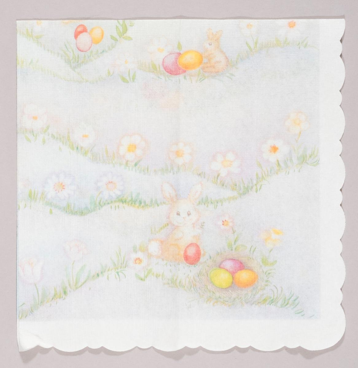 Påskeharer og kulørte påskeegg i et bølget landskap med hvite blomster.