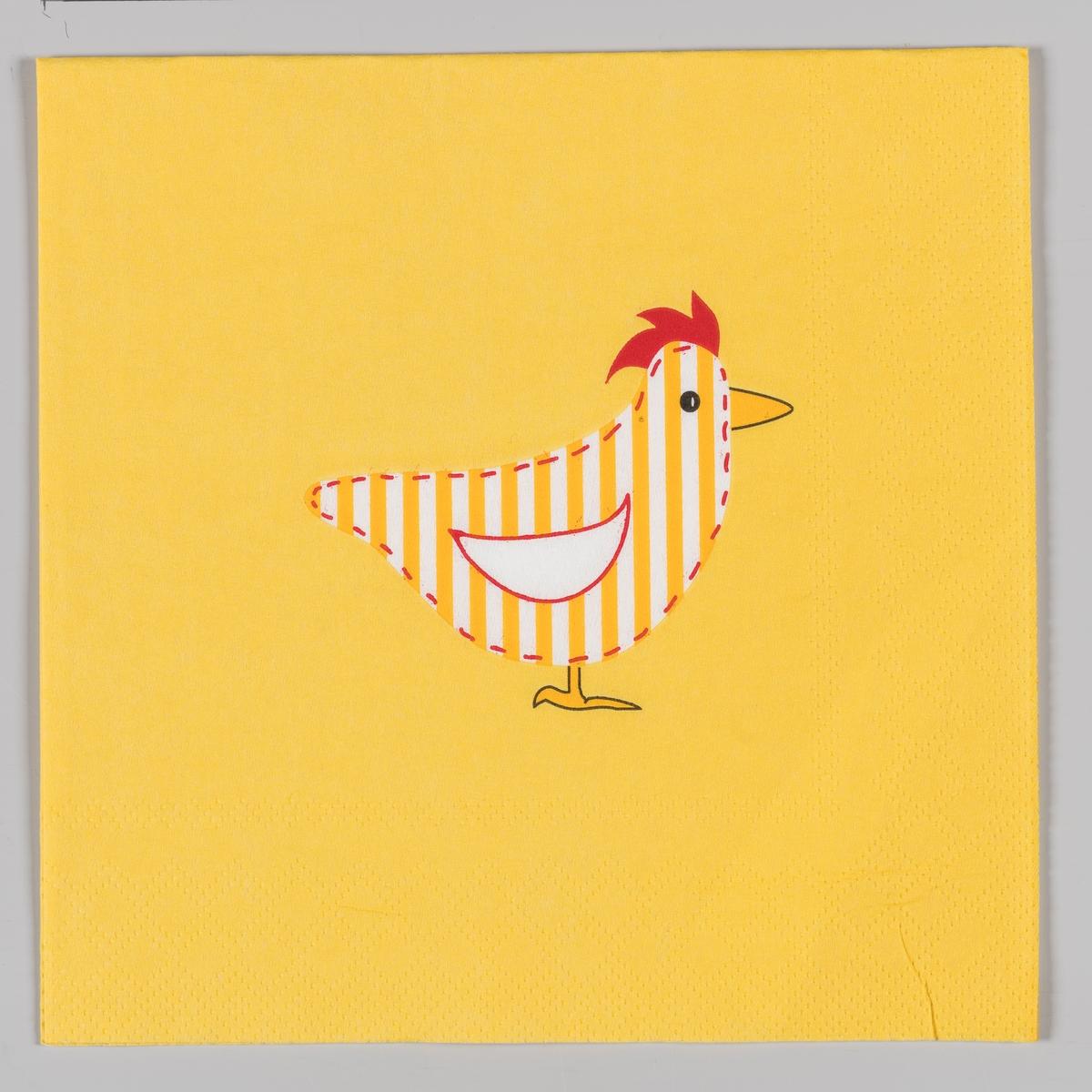En gul og hvit stripete høne på en gul bakgrunn.