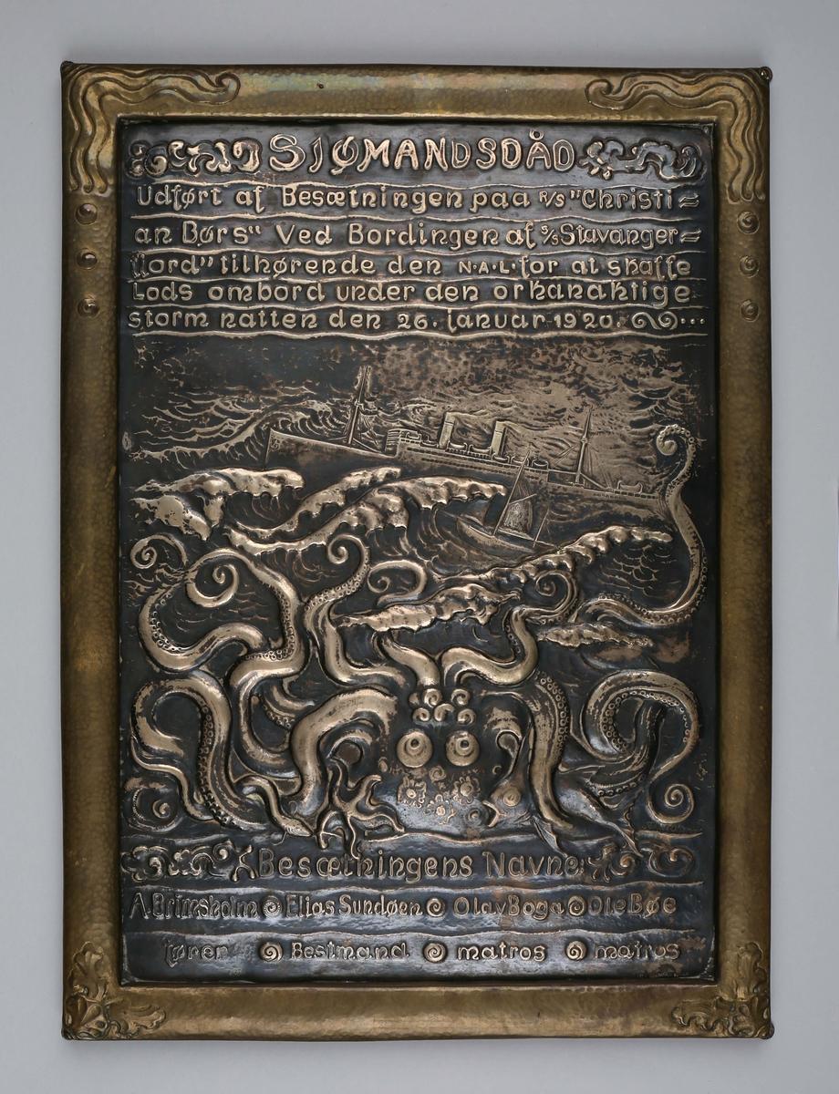 Motiv av redningsskøyten CHRISTIAN BØRS i opprørt sjø sammen med DS STAVANGERFJORD og en blekksprut.