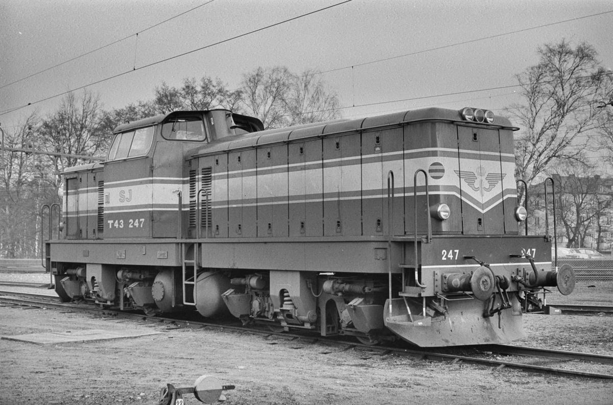 Svensk diesellokomotiv type T43 nr. 247 i Ângelholm i Sverige.