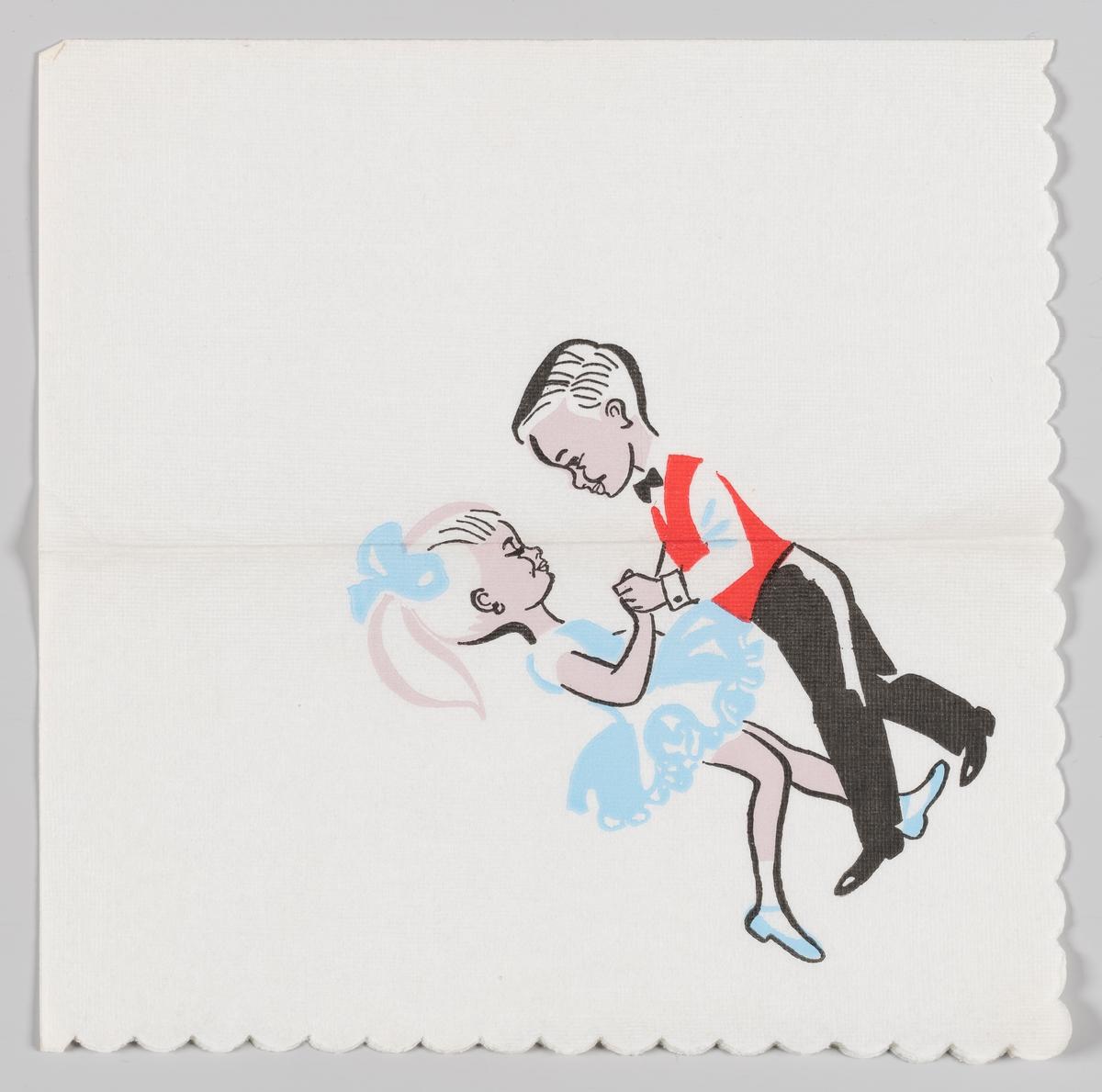 En gutt i rød vest og sort bukse som danser med en jente i lyseblå kort kjole, lyseblå sko og lyseblå sløyfe i håret.