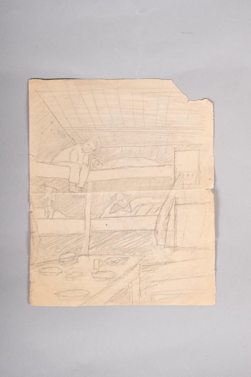 Interiør brakkerom. Bord med dekketøy, køyesenger der det sitter og ligger fire fanger.