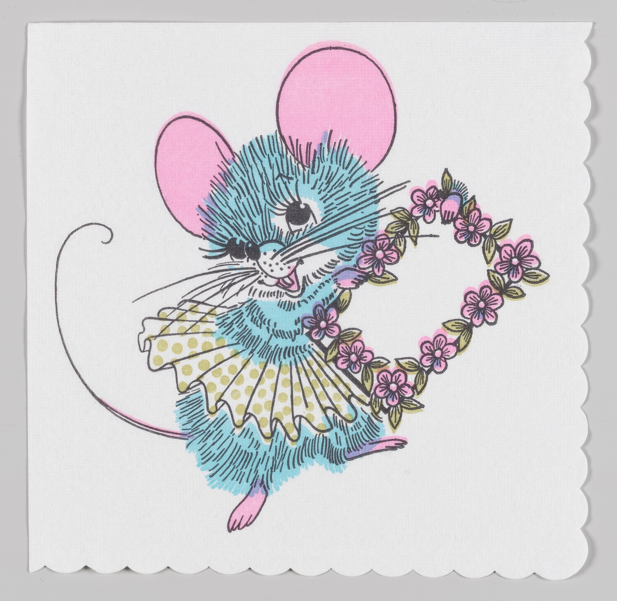 En mus med skjørt og en billedramme med blomster.