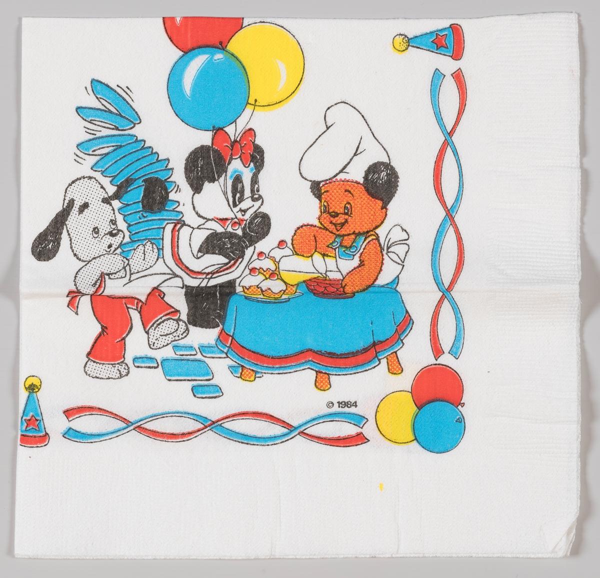 Tre forskjellige bamser med tallekener, ballonger og kaker