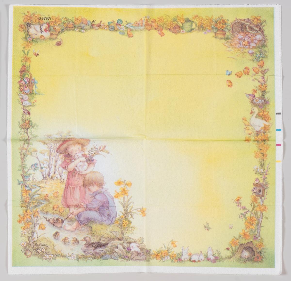 En jente med en kanin og en gutt som seiler med en sko. Langs kanten blomster, fugler og kaniner.