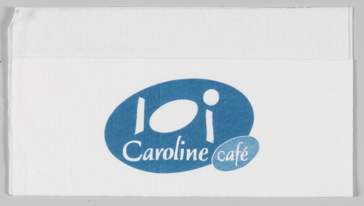 Et stilisert bord med servise og reklametekst for Caroline cafè.  Samme reklame på serviett MIA.00007-004-0046.