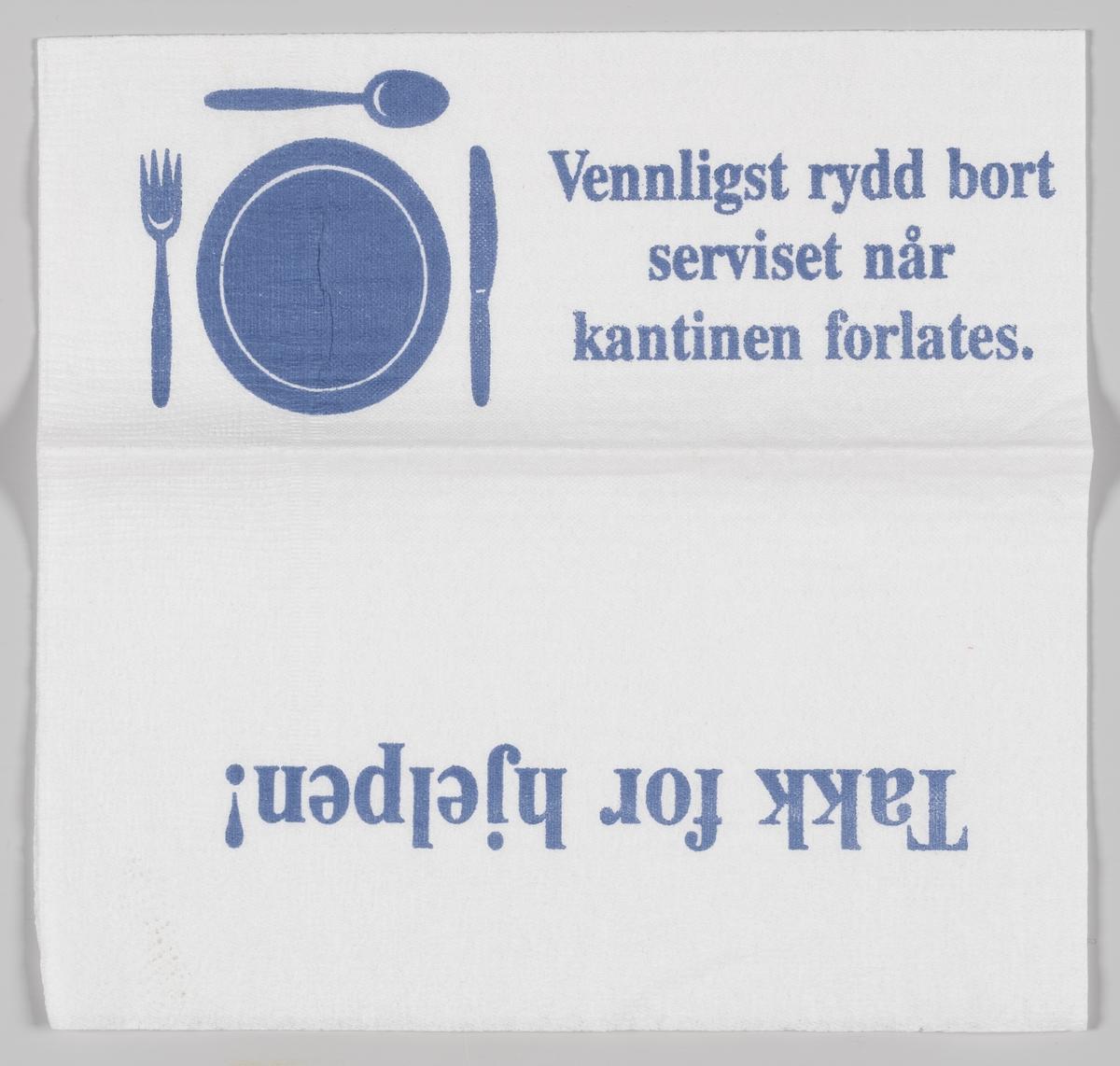 En tallerken og bestikk og tekst med takk for opprydding i kantinen (ukjent)