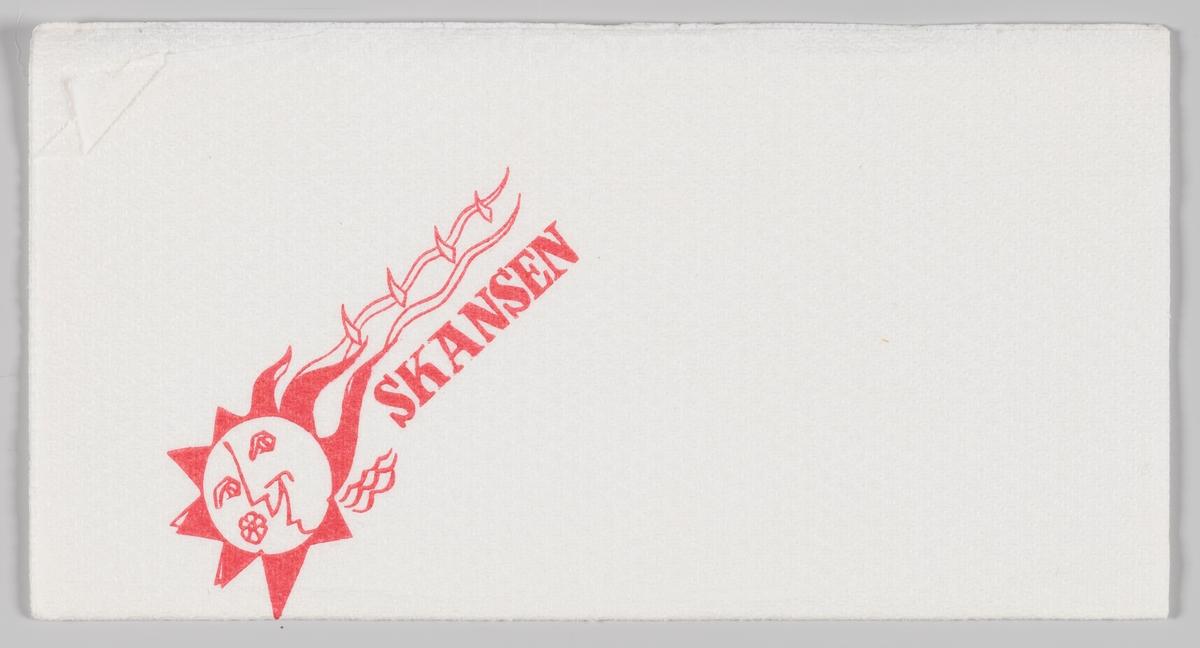 En smilende sol og reklametekst for Skansen (restaurant).  Samme motiv på MIA.00007-004-0080.  Skansen restaurant var en restaurant på Kontraskjærets skråning ned mot Pipervika i Oslo. Bygningen ble tegnet i 1926 av arkitekt Lars Thalian Backer (1892–1930) og sto ferdig i 1927. Bygningen ble revet 1970.