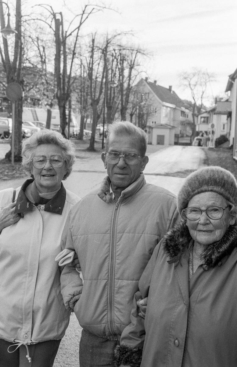 Verneplan for Drøbak. Maia Larsen (81) Gunnar Brynhildsen (76) og Astrid Johnsen (71) står ved parkeringsplassen i Drøbak.