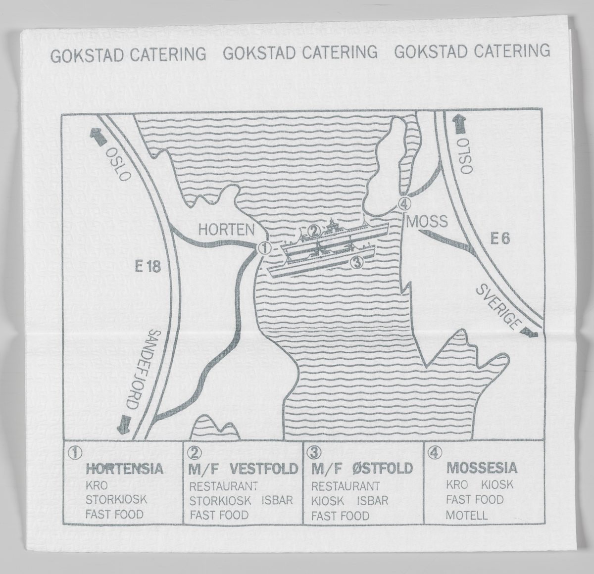 En tegning av Gokstad skipet og et kart over området Horten og Moss og en reklametekst for Gokstad catering.