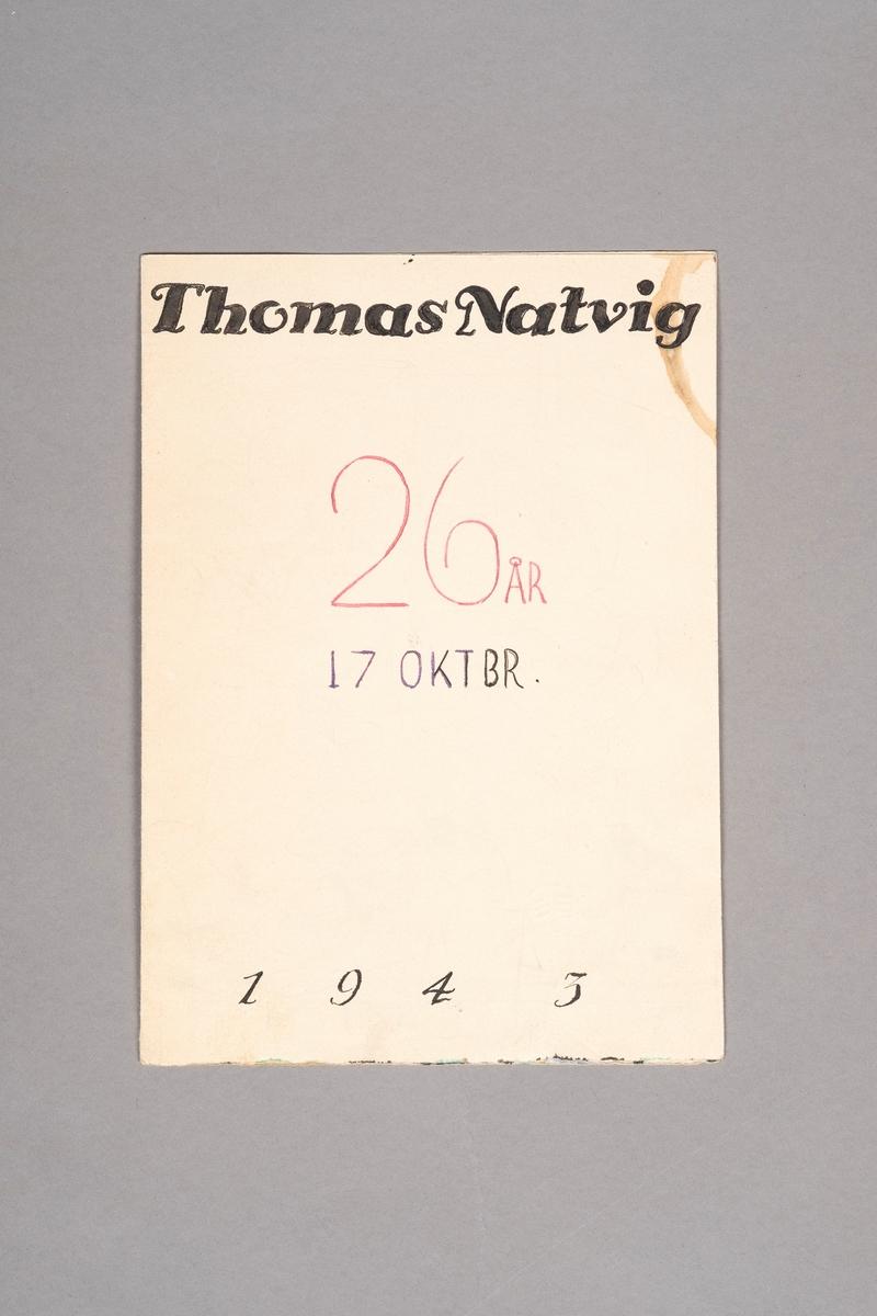 Teginger viser 17 figurer; 3 av dem svever mens 13 av dem jobber på taket på brakke 9. Han som er i forgrunnen har en pipe i munnen. Han skal trolig representere Thomas Bolstad Natvig.