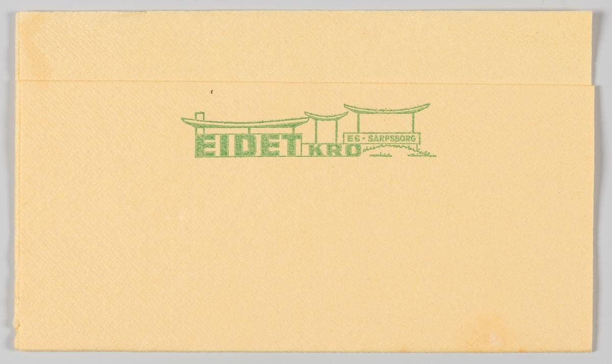 """En tegning av bygningen og en reklametekst for Eidet Kro ved E6 i Sarpsborg.  Eli Ringsrød drev i kiosk i Eidet fra 1941 til 1944. Kiosken ble overtatt av Rolf Unnfoss og Einar Westgård. Kiosken var bare åpen i sommertiden.  Ted Elton kjøpte kiosken i 1963 og bygde ut kiosken til  Eidet Kro med sine karakteristiske """"vipper"""" eller bølger og ny fasade. Ted Elton drev kiosken frem til 1985. Eidet Kro ble leid ut i to år før den ble solgt til Rune Nilsen som drev den fram til 2000. Da ble Eidet Kro nedlagt. Idag er det leiligheter i gamle Eidet Kro."""